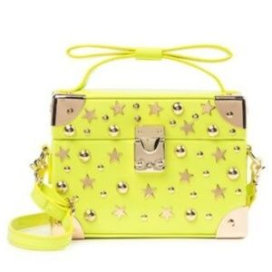 Betsey Johnson SATCHEL DON'T BOX ME IN NEON YELLOW